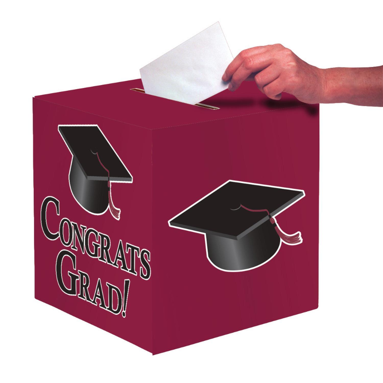"""Club Pack of 6 Burgundy """"Congrats Grad"""" Decorative Gradua..."""