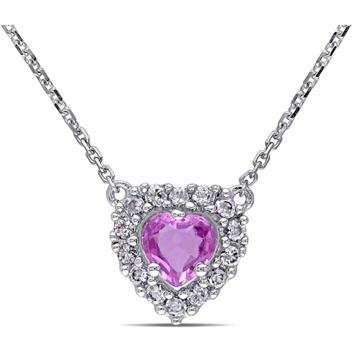 """3 4 Carat T.G.W. Pink and White Sapphire 14kt White Gold Halo Heart Necklace, 17"""" by Generic"""