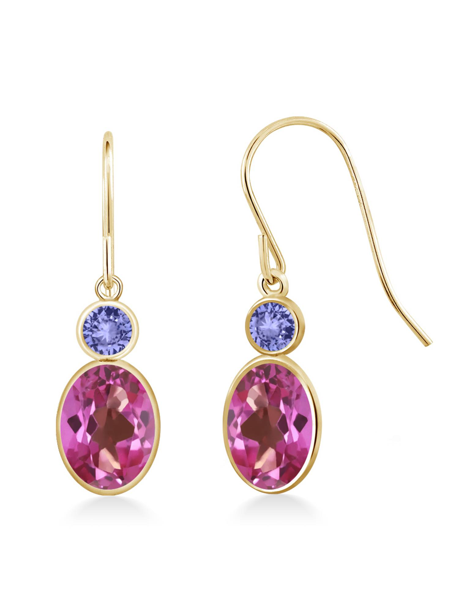 2.14 Ct Oval Pink Mystic Topaz Blue Tanzanite 14K Yellow Gold Earrings by