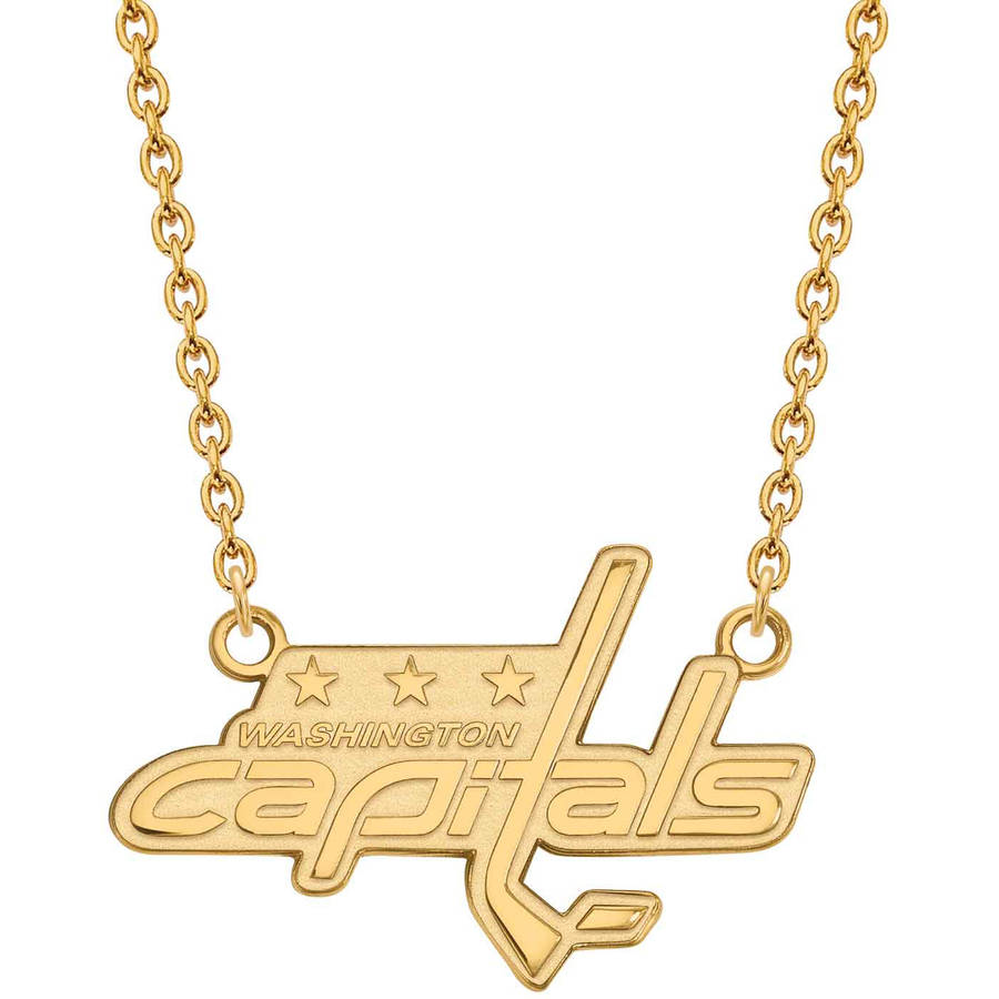 LogoArt NHL Washington Capitals 14kt Gold-Plated Sterling Silver Large Pendant with Necklace