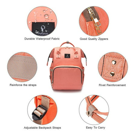Backpack Diaper Bag with USB Interface Large Baby Diaper Nappy Multifunctional Bagpack Shoulder Bags Outdoor Waterproof - image 3 de 9