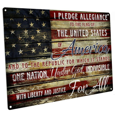 """Pledge of Allegiance 9""""x12"""" Metal Sign, Wall Decor for Studio or Office"""