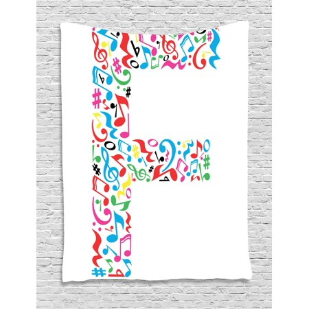 Letter F Tapestry  Letter F Alphabet With Vibrant Music Notes Harmony Song Design Abc Graphic Print  Wall Hanging For Bedroom Living Room Dorm Decor  40W X 60L Inches  Multicolor  By Ambesonne