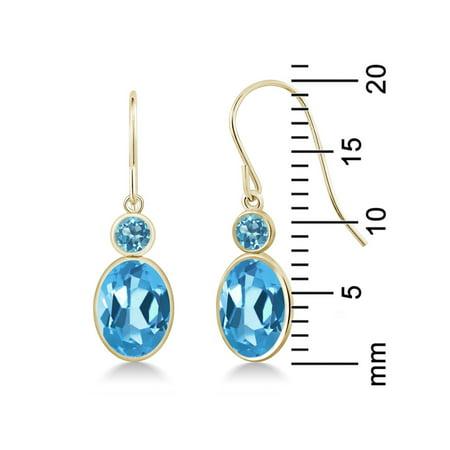 3.30 Ct Oval Swiss Blue Topaz 14K Yellow Gold Earrings - image 2 of 3