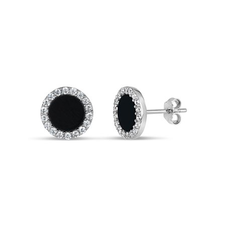 8mm Black Onyx and White Cubic Zirconia Sterling Silver Rhodium Plated Round Stud Earrings