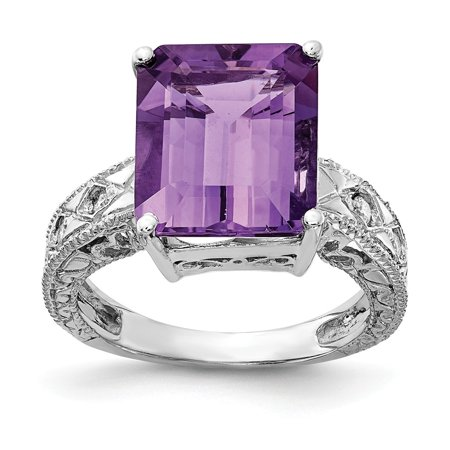 Solid 14k White Gold 12x10mm Emerald Cut Amethyst Purple February Gemstone Diamond Engagement Ring Size 8 (.068 cttw.)