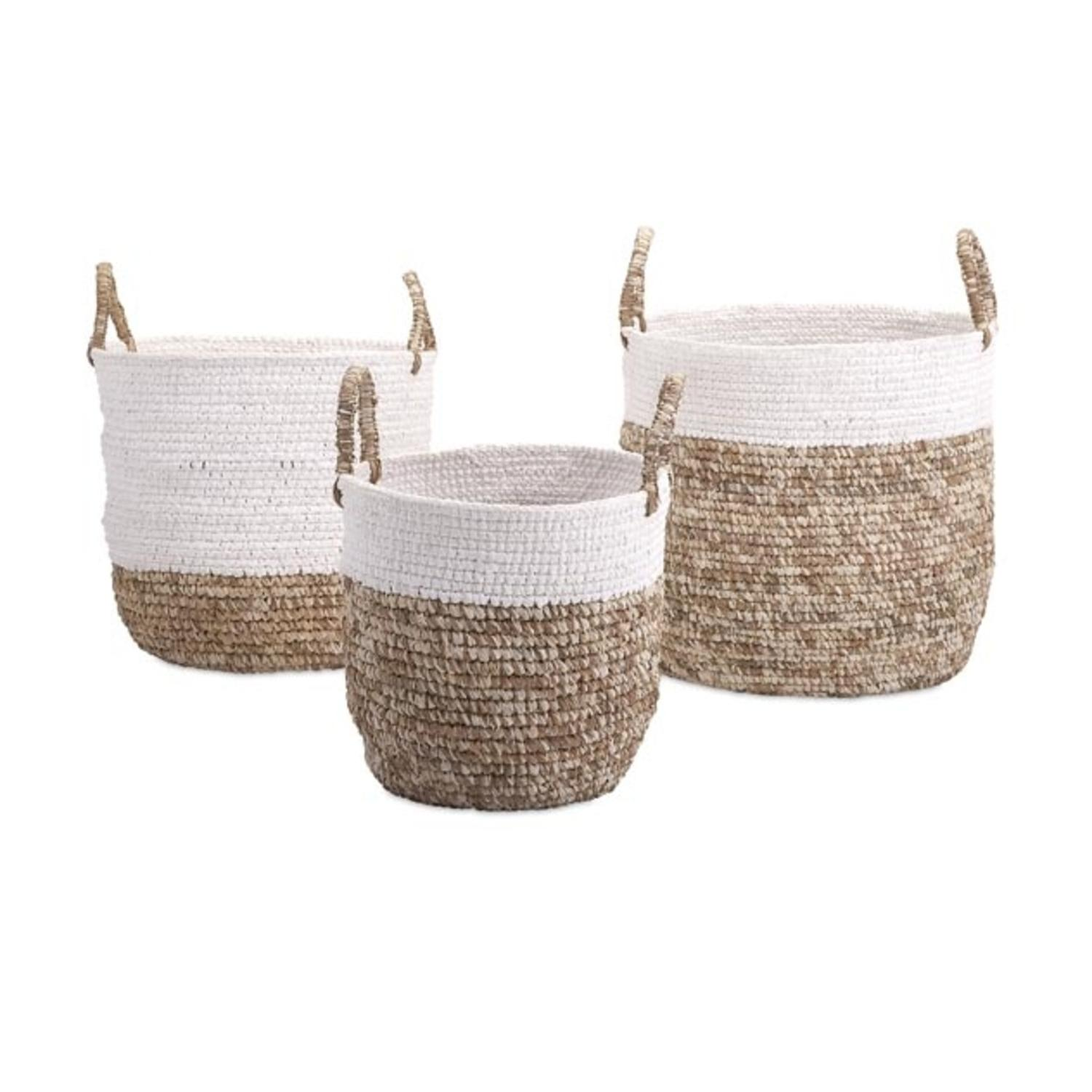 Set of 3 Nautical White Shoelace and Natural Brown Raffia Woven Baskets with Handles  sc 1 st  Walmart.com & Set of 3 Nautical White Shoelace and Natural Brown Raffia Woven ...
