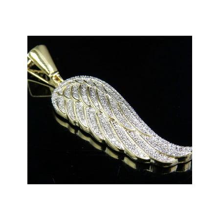 10K Yellow Gold Genuine Diamond Single Angel Wing Pendant (0.75 ct)