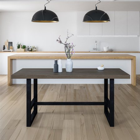 Dorel Living Duncan Metal Base Dining Table, Rustic Gray ()