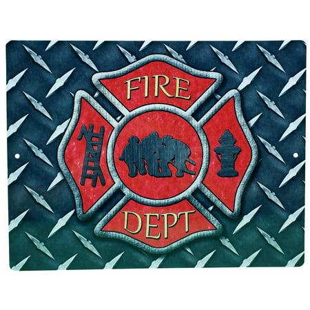 Cross Sign (Aluminum Sign - Firemans Cross Diamond Plate Background - 12