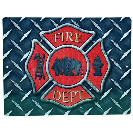 "Aluminum Sign - Firemans Cross Diamond Plate Background - 12"" x 9"""