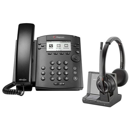 Polycom VVX 311 Corded Voice Over IP Phone with Savi W8220 Wireless Headset Polycom Corded Telephone