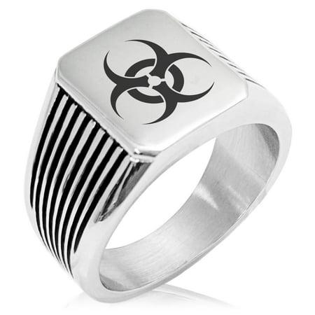 - Stainless Steel Biohazard Needle Stripe Pattern Biker Style Polished Ring