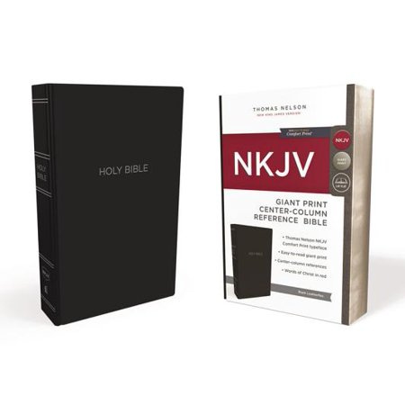 NKJV, Reference Bible, Center-Column Giant Print, Leather-Look, Black, Red Letter Edition, Comfort (Look Center)