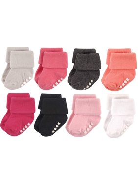 Roll Cuff Socks with Grippers, 8-Pack (Baby Girls)