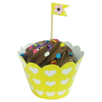 Wrapables® Standard Size Hearts Cupcake Wrappers (Set of 60), Yellow