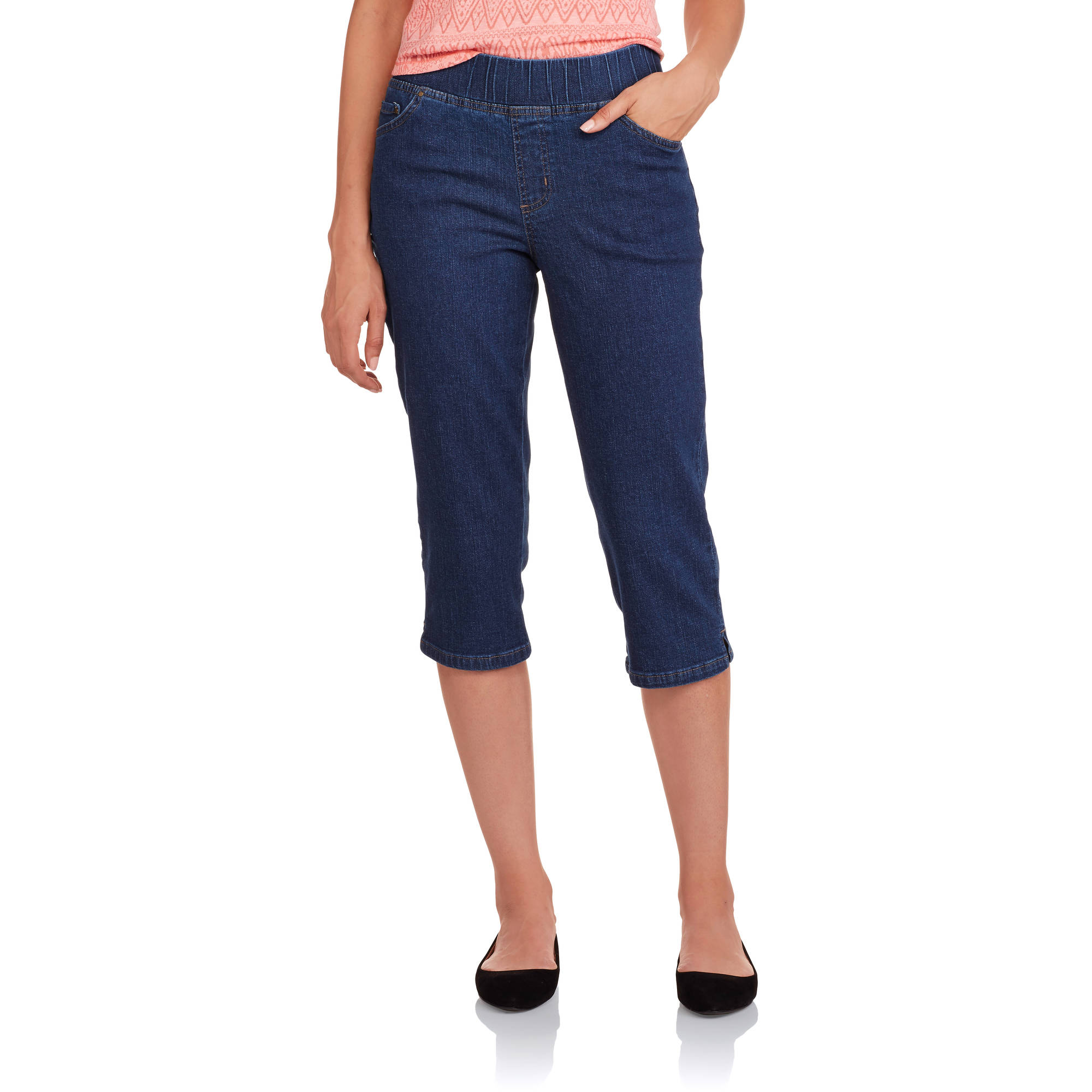"Real Size Women's ""Super Stretchy"" 5 pocket Pull-On Capri Pants ..."