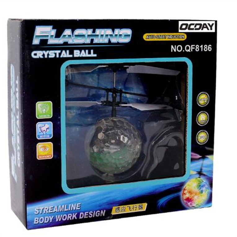 Transparent Remote Control Flying Crystal Ball Led Flashing Light Infrared Induction Helicopter