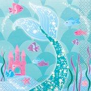 Mermaid Paper Beverage Napkins, 5in, 16ct