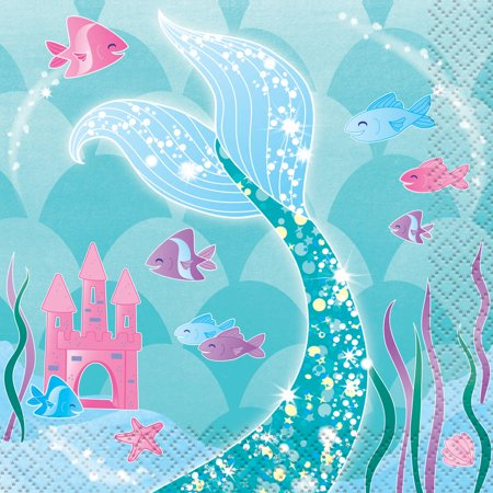 Mermaid Paper Beverage Napkins, 5in, 16ct - Mermaids Party Supplies
