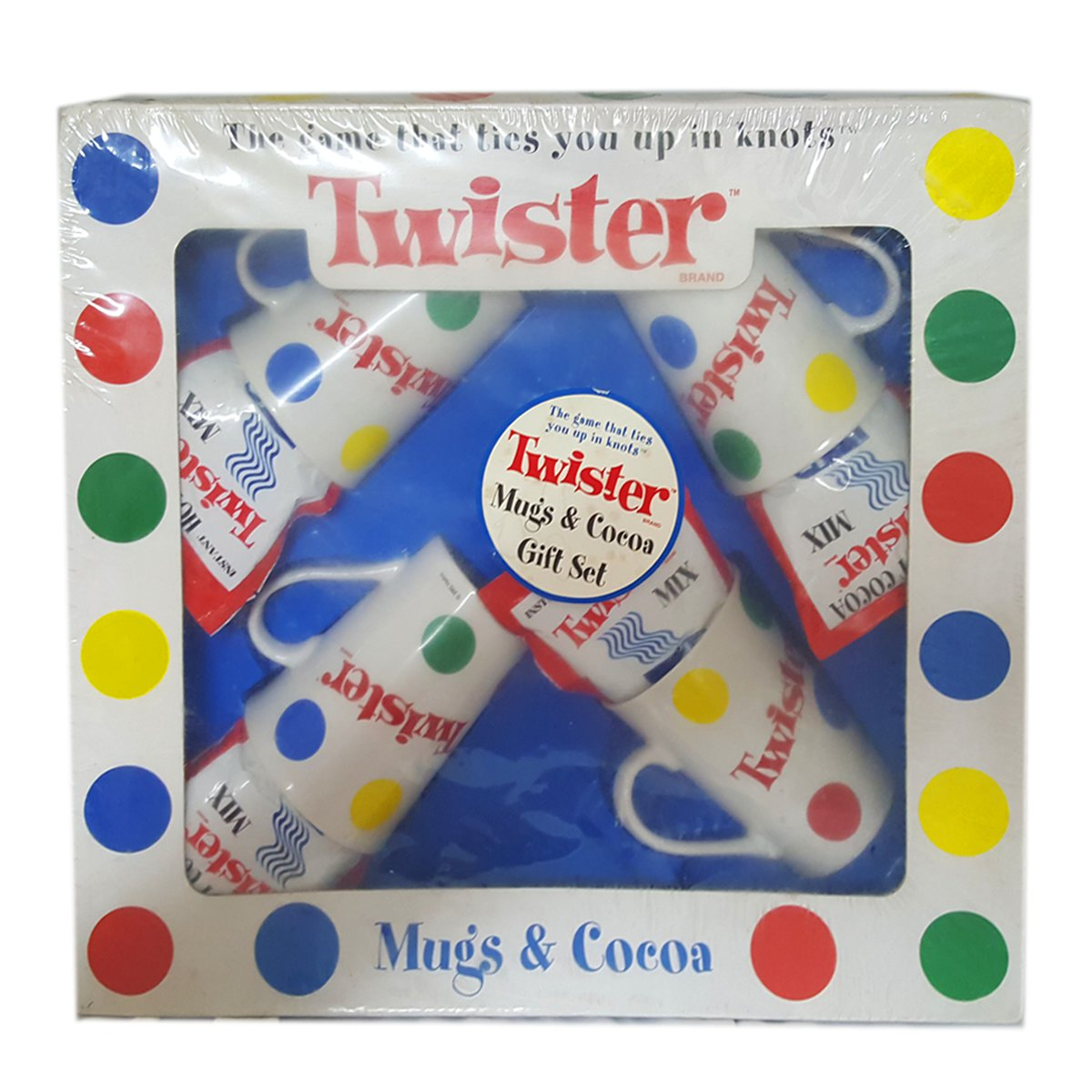 Rare 2002 Hasbro Twister Game Mugs & Cocoa Gift Set No. 4918 by Hasbro