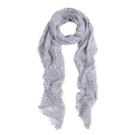 Dotted Scarf - Premium Long Solid Color Dolka Dot Frayed Edge Scarf