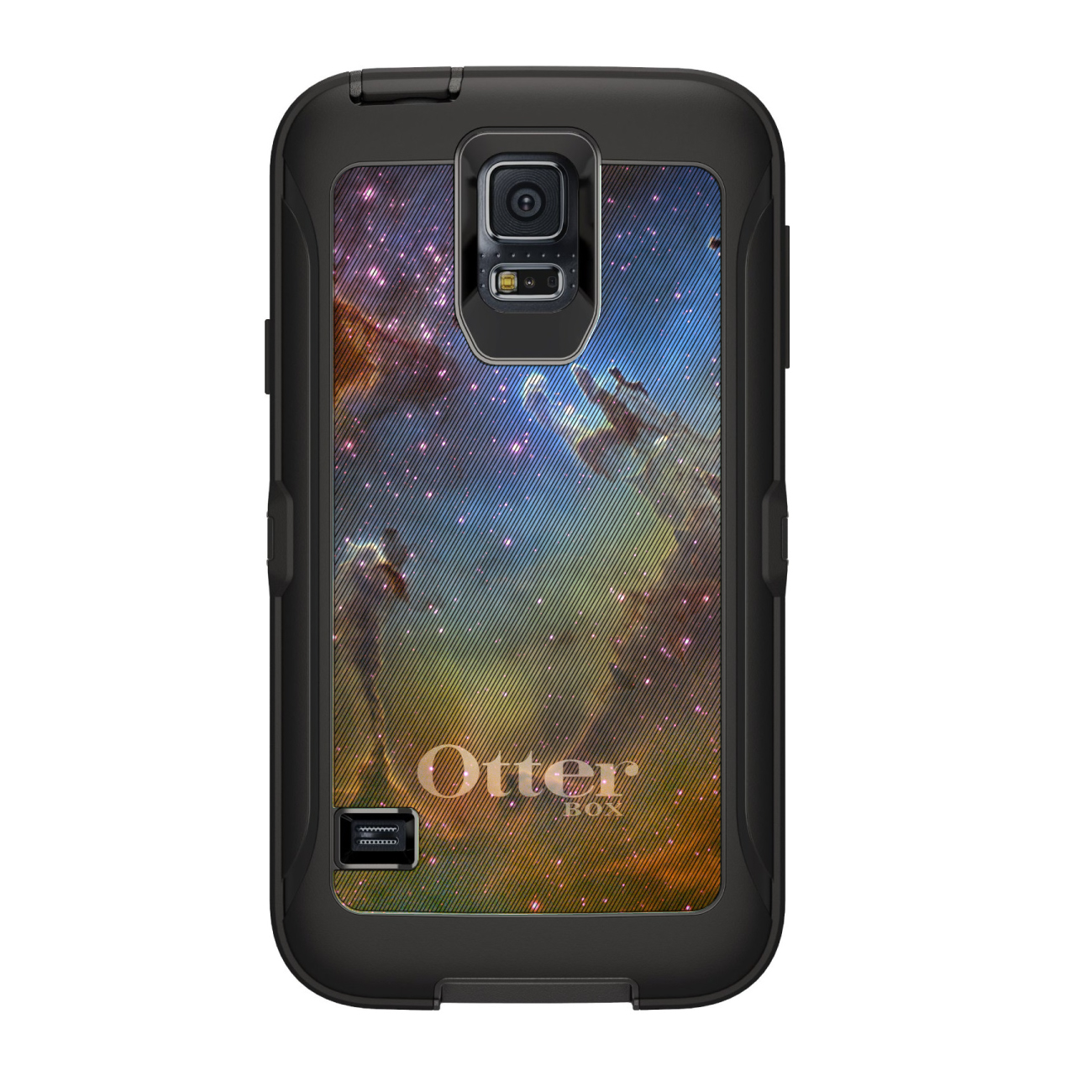DistinctInk™ Custom Black OtterBox Defender Series Case for Samsung Galaxy S5 - Eagle Nebula Orange Blue