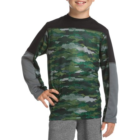 Boys' Long Sleeve Pieced Performance T-Shirt Active Long Sleeve Training Top