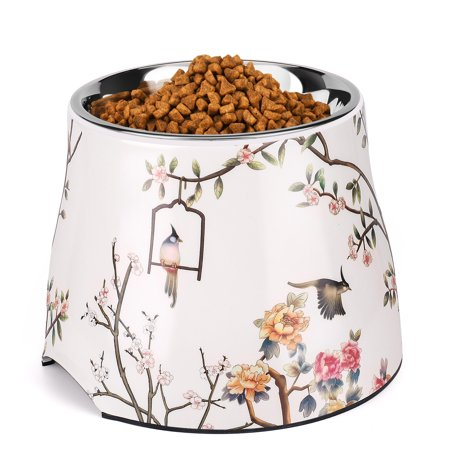 Stainless Steel Elevated Dog Bowl Feeder up to 24 Oz - Raised Cat Pet Dish with Removable Food Water Holder Anti-tip Rubber Slip Bottom for Geriatric Older Small Medium Breeds Puppy
