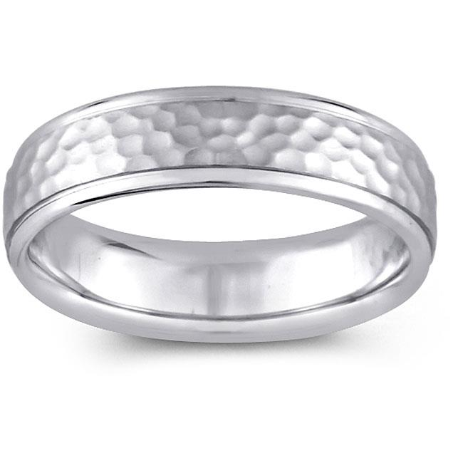Precious Stars SEBF0002055080 14k White Gold Ladies 5. 5 mm.  Hammered Design Comfort Fit Wedding Band
