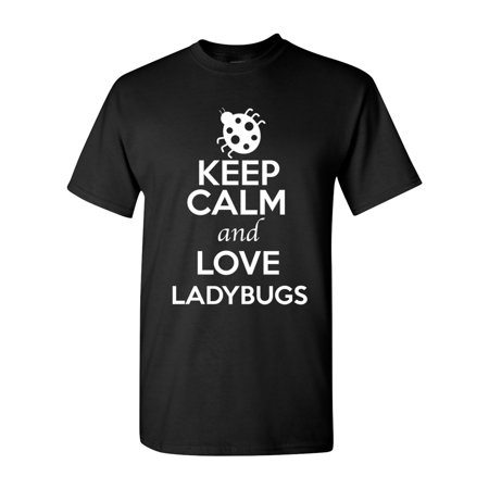 Keep Calm And Love Ladybugs Bugs Insects Lover Adult T-Shirt -