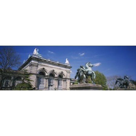 Low angle view of a statue in front of a building Memorial Hall Philadelphia Pennsylvania USA Poster Print