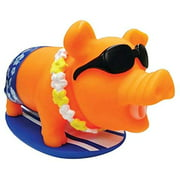 Surf Piggie The Surfing & Snorting Pig Stress Relief Squeeze Toy, Ideal Funny Novelty & Gag Gifts - The Perfect Sensory Toys for Kids or Prank Toy for The Office - By Animolds (Orange)