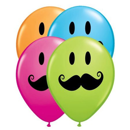 Smiley Face With Mustache 11 Round Balloons Pack Of 20