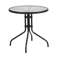Flash Furniture 28'' Round Tempered Glass Metal Table with Rattan Edging Multiple Colors
