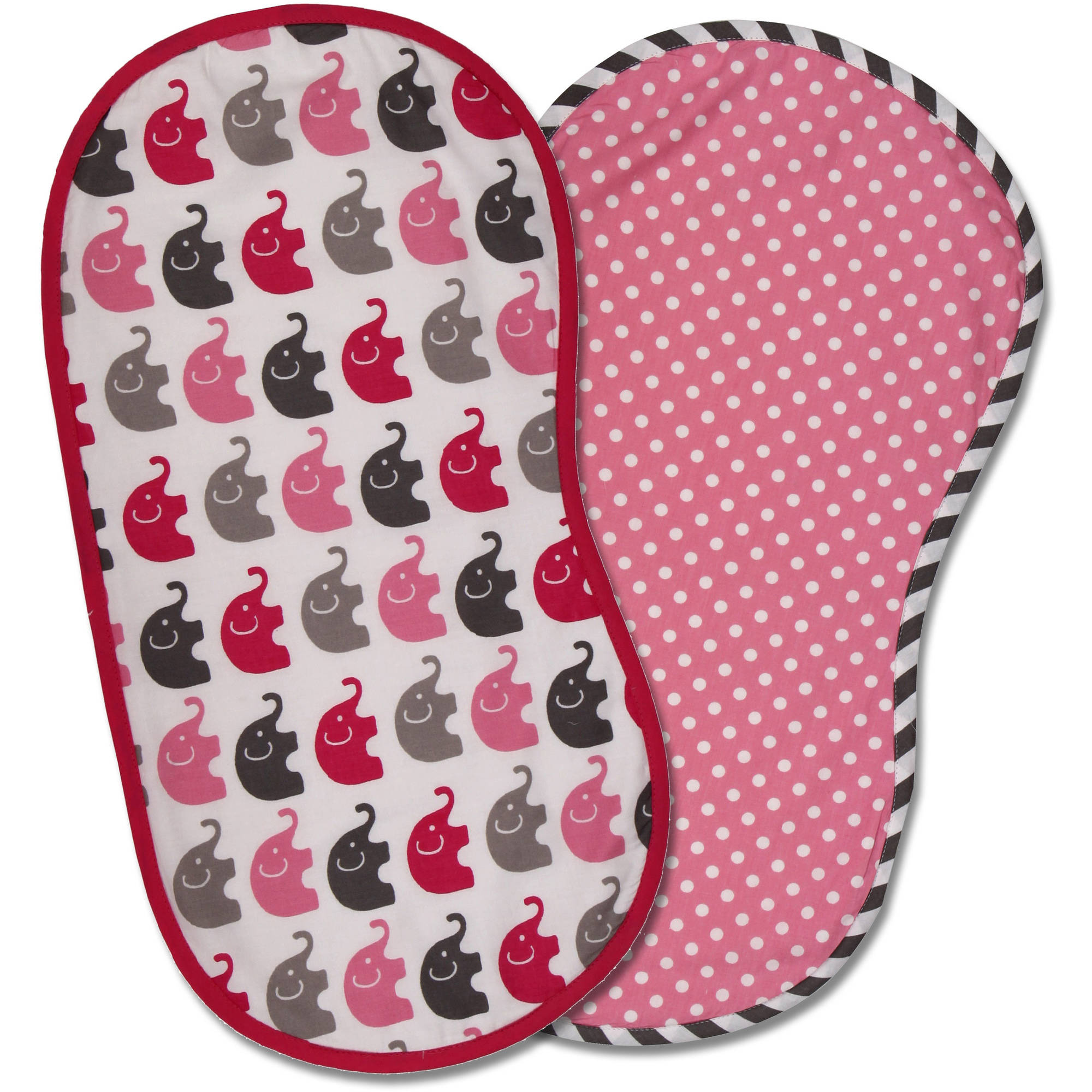 Bacati Elephants Burpies, Set of 2, Pink/Gray