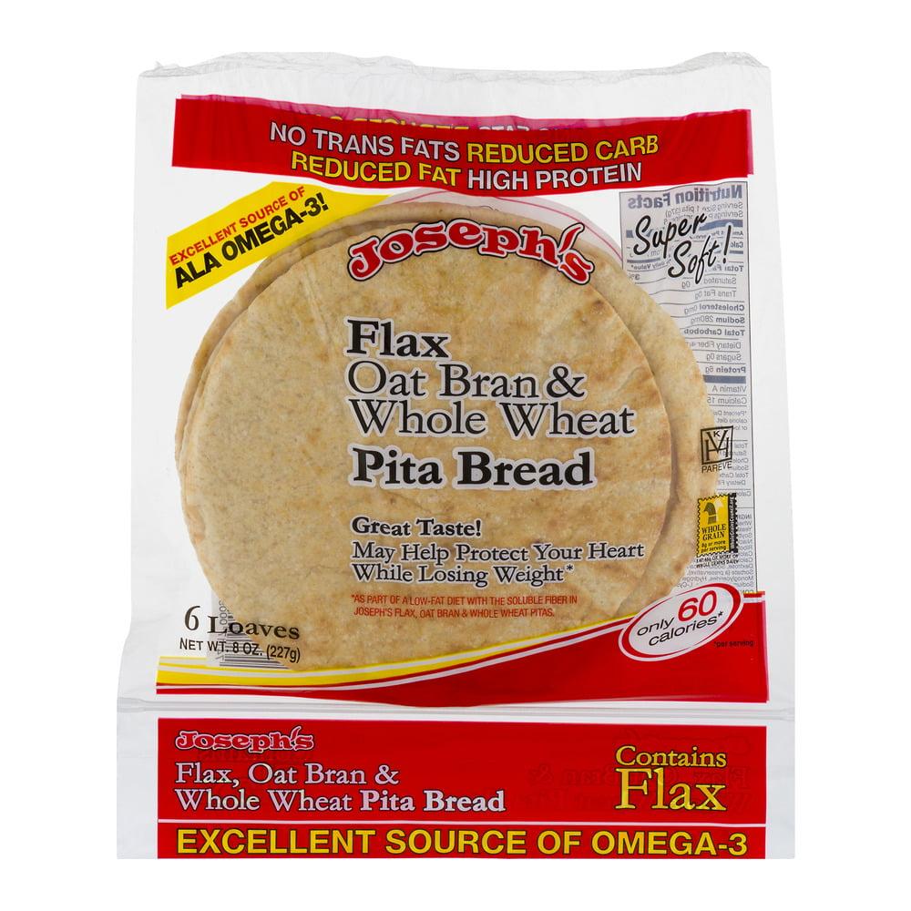 Joseph's Flax Oat Bran & Whole Wheat Pita Bread - 6 CT