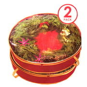 """Simplify 24"""" x 6"""" Christmas Holiday Wreath Bag, 2-Pack, Red Nonwoven"""