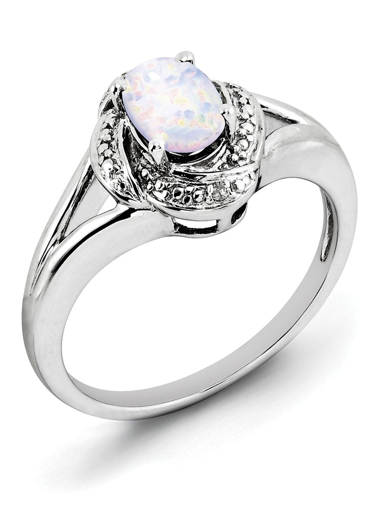 Sterling Silver Diamond Created Opal Ring Walmartcom