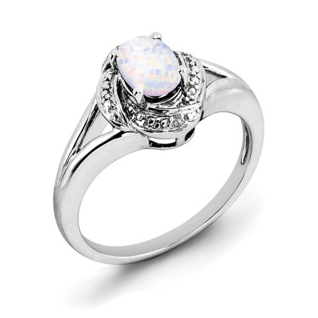 Created White Opal Stone - Sterling Silver Diamond & Created Opal Ring