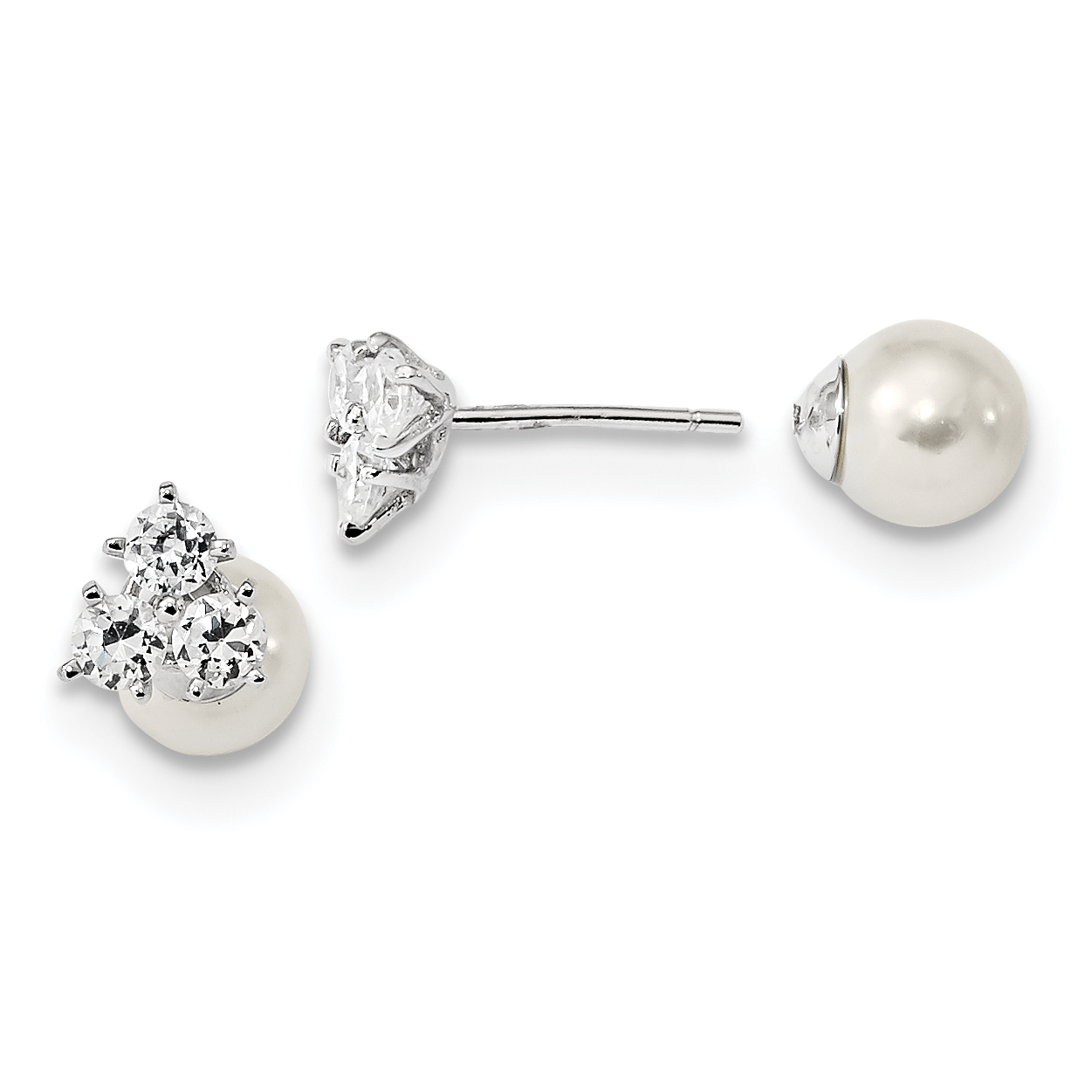 925 Sterling Silver Rh Pl Cubic Zirconia Cz Simulated Sea Shell Mermaid Nautical Jewelry Pearl Front Back Post Stud Earrings Ball Button Fine Jewelry Gifts For Women For Her - image 4 of 4