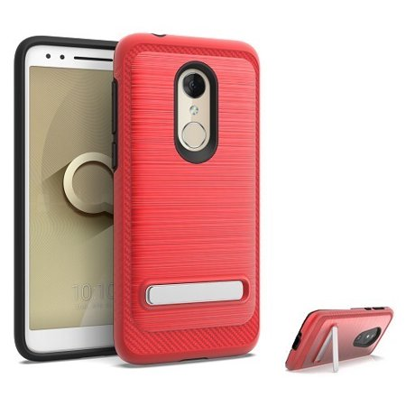 Metallic Onyx (Phone Case for Alcatel Onyx, Dual Layer Metallic Brushed Design Shockproof Protection Cover Case with Kickstand (Red))