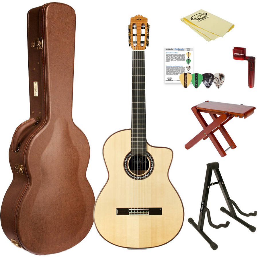 Cordoba GK Pro Acoustic Electric Nylon String Flamenco Guitar with Humidified Hardshell Archtop Case and ChromaCast Accessories