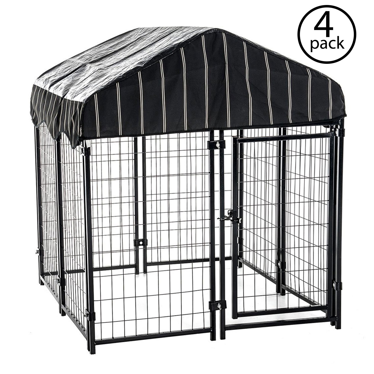 Lucky Dog 4' x 4' x 4.5' Covered Wire Dog Fence Kennel Pet Play Pen (4 Pack)