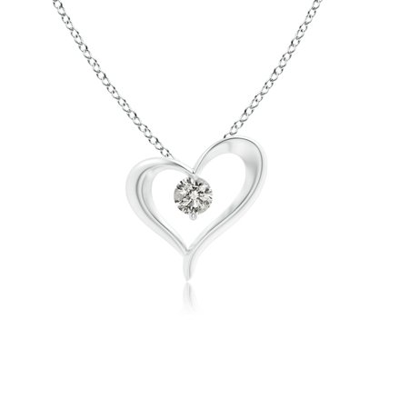 Valentine Jewelry gift - Solitaire Diamond Ribbon Heart Pendant in 14K White Gold (3mm Diamond) - SP1119D-WG-KI3-3 Gold Diamond Ribbon Pendant