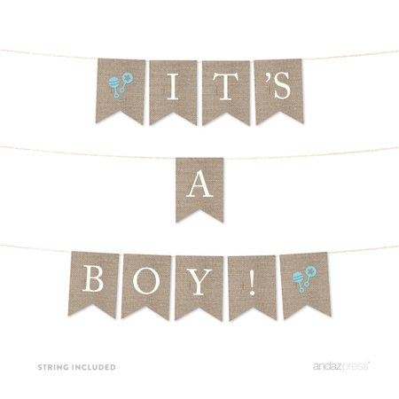 It's A Boy! Burlap Baby Shower Pennant Party Banner - Halloween Pennant Banner Printable