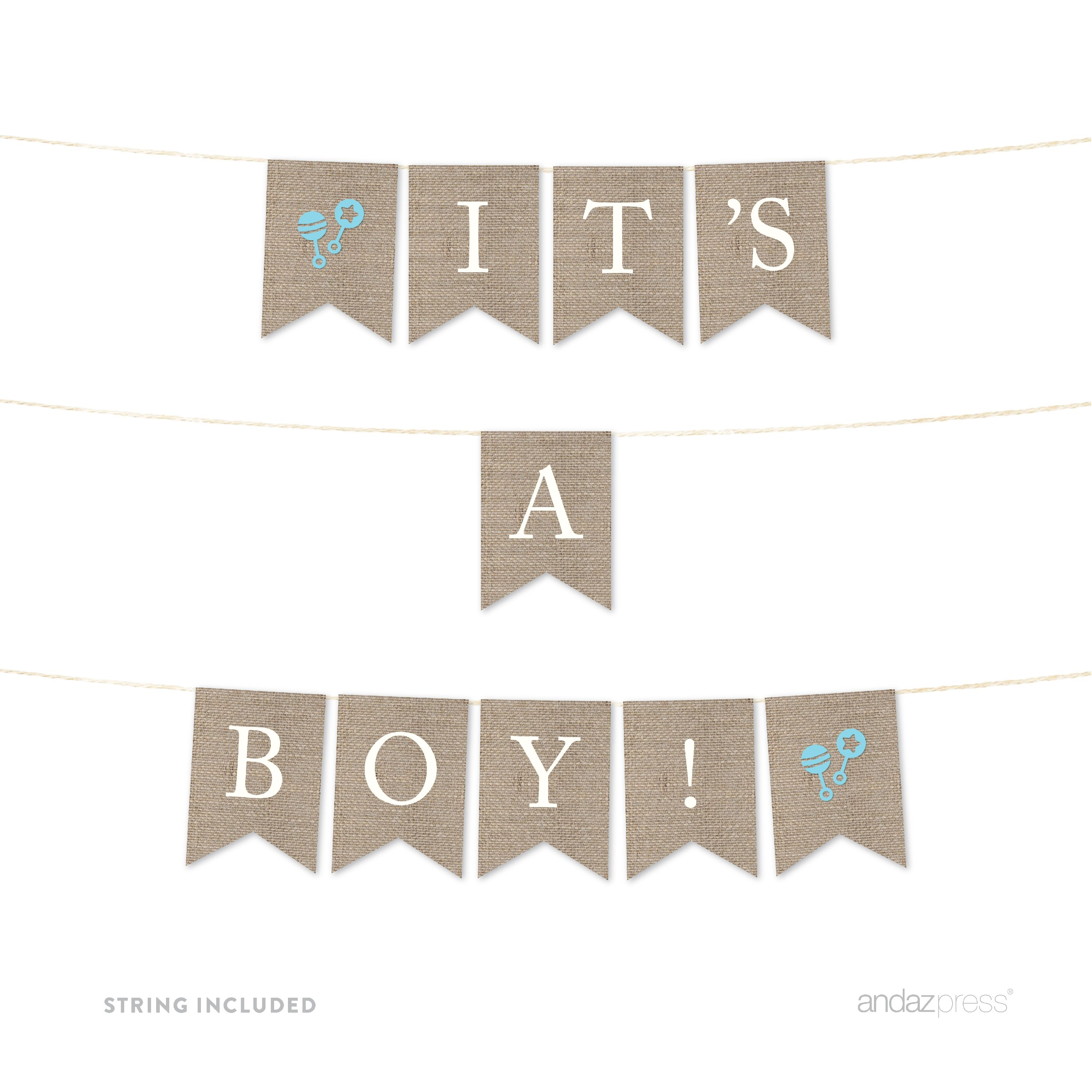 Burlap Baby Shower Pennant Party Banner