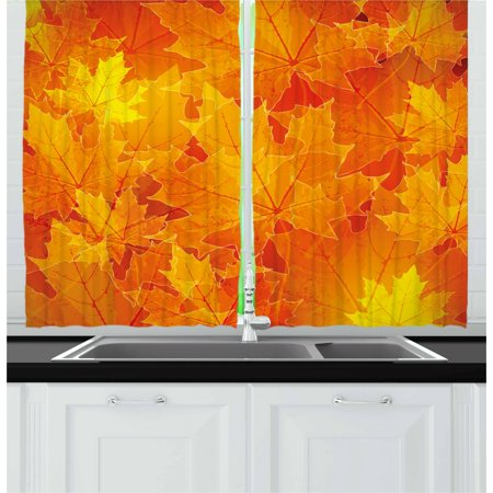 Botanical Leaf (Fall Curtains 2 Panels Set, Seasonal Maple Tree Leaves Botanical Foliage Vibrant Floral Forest Texture Image, Window Drapes for Living Room Bedroom, 55W X 39L Inches, Orange Yellow, by)