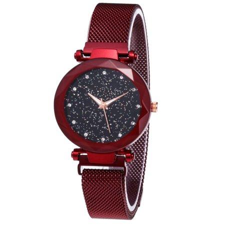 Crystal Dimond Decoration Unique Starry Facemagnet Stone Belt Ladies Watch - image 2 de 6