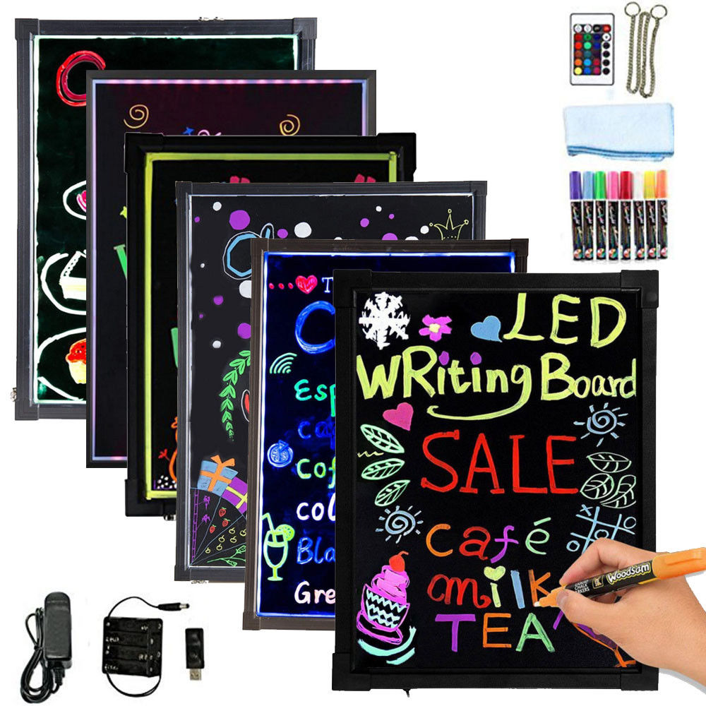 "Hosim LED Message Writing Board, 24"" x 16"" Illuminated Erasable Neon Effect Restaurant Menu Sign... by"